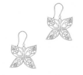 Celtic Butterfly Silver Drop Earrings with Cubic Zirconia 9427